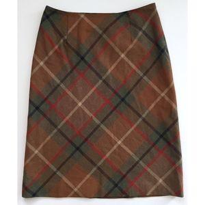 ANN TAYLOR Brown Green Red Plaid Wool Blend Skirt